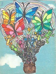 Mongolfiera con bambini che si arrampicano e cercano di raggiungere le farfalle. Immagine che rappresenta in Piano Triennale dell'Offerta Formativa.